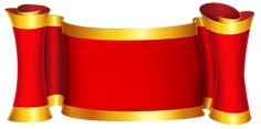 Red Gold Banner PNG Clip Art Image