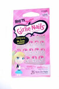 Fing'rs Girlie Nails 24ct Stick on Nails HALLOWEEN SPOOKY EYES by Fing'rs. $7.99. GLOWS in black light!. Safe to remove.. Easy to apply.. Halloween spooky eyes!. 24ct Stick on nails.. Girlie Nails.  Little nails for little fingers.