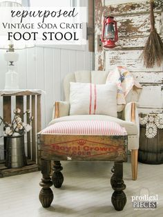 Vintage Soda Crate Repurposed into Foot Stool by Prodigal Pieces | www.prodigalpieces.com
