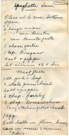 Back in the day when we wrote recipes out! Spaghetti Sauce And Meatballs Retro Recipes, Old Recipes, Vintage Recipes, Meat Recipes, Pasta Recipes, Italian Recipes, Cooking Recipes, Italian Foods, Al Dente
