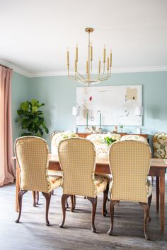 Light blue dining room with Clare Headspace paint color in Atlanta with antiques and modern Hudson Valley Lighting brass chandelier on Thou Swell Dinning Room Paint Colors, Green Dining Room, Living Room Colors, Dining Room Design, Dining Rooms, Dining Tables, Fabric Dining Chairs, Decoration, Interior Design