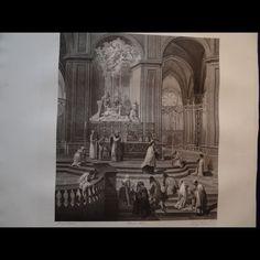 26840 Antique 200 years old print etching  J B Jouvenet Notre Dame Paris France