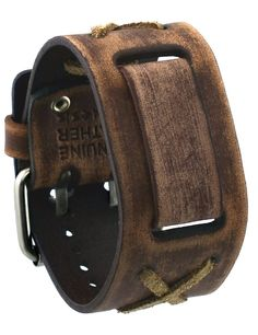Nemesis #BFXBB Vintage Brown Criss Cross Wide Leather Cuff Watch Wrist Band