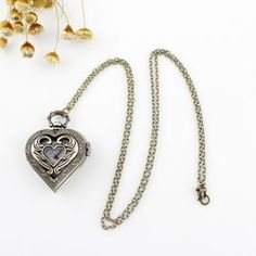 $5.50 Stylish Openwork Heart Shape Pocket Watch Embellished Sweater Chain Necklace