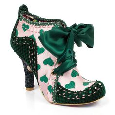 Have a regency romance and fall in love with these gorgeous love heart themed irregular choice classics. Featuring green and pink heart fabric with laser cut detailing and stitching, polka dot trim, soft checker board fabric on the heel and toe, a fabu Funky Shoes, Cute Shoes, Me Too Shoes, Vintage Inspired Shoes, Vintage Shoes, Fashion Shoes, Fashion Accessories, Style Fashion, Irregular Choice Shoes