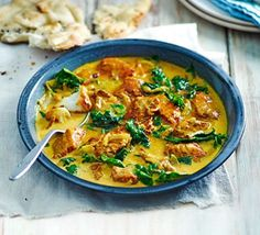 Cod & spinach yellow curry Looks yummy, could try with light coconut milk to ease on calories!