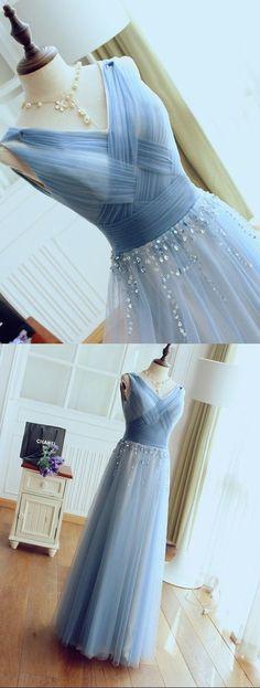 Formal Party Dress,Blue Prom Dress,V-neckline Tulle Bridesmaid Dress,Blue Tulle Prom Dress,Smoke Blue Graduation Dress