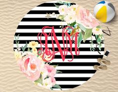 Our personalized round beach towels! Have the HOTTEST new product on the beach! With the unique look of our round towel you will be the most stylish bathing Monogrammed Beach Towels, Monogram Towels, Monogram Gifts, Beach Please, Monogram Styles, Floral Stripe, Vinyl Lettering, Decoration, Color Show