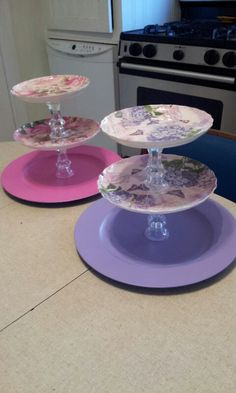 99 cent store cup cake stands. Plastic plates,candle holders and some glue. Easy!