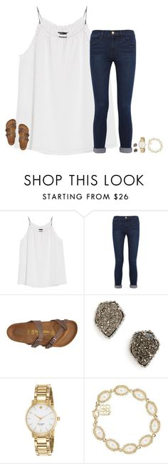 """""""the office is my fav show"""" by secfashion13 ❤ liked on Polyvore featuring MANGO, Frame Denim, Birkenstock, Kendra Scott and Kate Spade"""