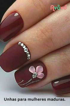 52 Best nail designs decorated with glitter 2019 nail design with glitter tipsü nail design with glitter nail styles with glitter nail art design with glitter nail polish design with glitter toe nail design with glitter nail design ideas with glitter Burgundy Nail Designs, Burgundy Nails, Burgundy Wine, Trendy Nails, Cute Nails, Nagel Stamping, 3d Nail Designs, Nails Design, Glitter Nail Designs