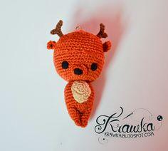 Krawka: Reindeer Christmas tree ornament crochet free pattern