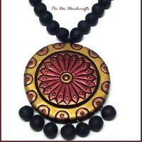 Terracotta Jewellery - Rust Gold Flower Round Set 2a $21