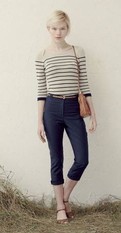 NICO Ivory/Navy: Knit striped sweater, 3/4 sleeves, contrast hem.  JO Navy: High-waisted 7/8 pants, back pockets.  Betina Lou Spring-Summer 2013