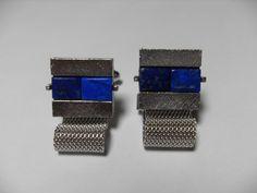 Gemstone cuff links Lapis Lazuli silver tone by GingersLittleGems