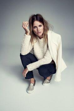 pinstripe pants and cozy sweater via fashionsquad