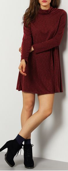 It's my style! Casual and Fashion :  Wine Red Turtleneck Casual Dress. From shein ,get 35% off for your 1st order .