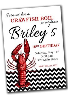 Crawfish Boil Party Invitation PRINTABLE Digital File on Etsy, $10.00