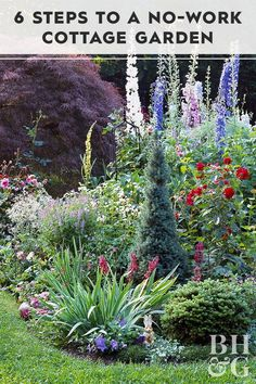 6 Steps to a No-Work Cottage Garden - Cottage garden designs bring a classic, so. - 6 Steps to a No-Work Cottage Garden – Cottage garden designs bring a classic, soft vibe to your l - Back Gardens, Outdoor Gardens, Front Yard Gardens, Amazing Gardens, Beautiful Gardens, Unique Garden, Garden Modern, Design Jardin, The Secret Garden