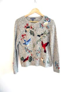Birdy Sweater Nature Preppy Hipster Cardigan by Continual on Etsy, $20.00
