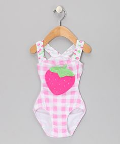 Look at this #zulilyfind! Pink Strawberry One-Piece - Infant, Toddler & Girls by Sweet Potatoes #zulilyfinds