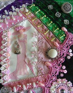 I ❤ crazy quilting . . . DYB-Victorian Ladies RR Gerrys block closeup ~by Rengin's Colors