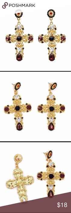 VINTAGE BLACK CRYSTAL CROSS EARRINGS Vintage Black Cross Earrings Jewelry Earrings