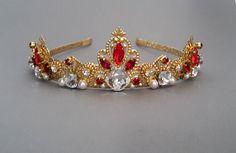 Red Swarovski Crystals Headbandwedding crown red by ZTetyana