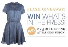 We're giving away this polka dot tea dress, as featured in Heat and Reveal this week! Plus, if you get two friends to sign up, you'll have a chance to win 1 of 2 x 50 pound vouchers to spend at Fashion Union! Please enter here > http://on.fb.me/zZpGsI or via the Tab on our Facebook page!    www.facebook.com/FashionUnion