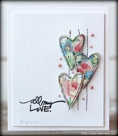 Hearts by Biggan/Birgit - Cards and Paper Crafts at Splitcoaststampers … Stamps: Technique Tuesday … Paper: Paper Accents, Prima … Accessories: Halfpearls Fabric Cards, Paper Cards, Paper Paper, Fabric Postcards, Tarjetas Diy, Heart Cards, Valentine Day Cards, Homemade Valentine Cards, Printable Valentine