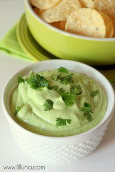 Avocado Lime Ranch Dip recipe on { lilluna.com }