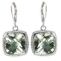 Tivolia Collection 14K White Gold Cushion Cut Green Quartz and Diamond Dangle Earrings