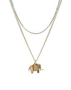 Image 1 ofASOS Double Pack Elephant Necklaces