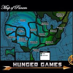 OH MY GOSH map of Panem I'd live in District 11. Also District 5 is grain and 6 is transportation even though they say unknown.