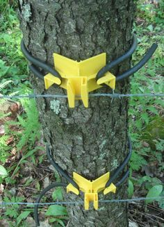 DIY idea for attaching memory plaque to tree without damaging tree. -- Expand Universal Electric Fence Insulators