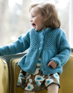 Free knitting pattern for Princess Smocked Cardigan - Jessica X. Wright-Lichter designed this cardigan for sizes 18 months (2, 4, 6) years