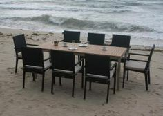The Mauritian - 8 Seater Teak and Stainless Steel/Woven Set