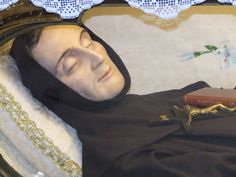 Close-up of the Incorruptible body of St. Charles of Sezze