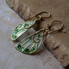 Faery Wings Earrings in Gilded Woodland Faery by Sihaya Designs.