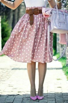 Pink polka dot skirt and pink shoes