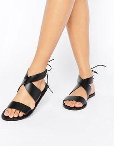#ASOS - #ASOS ASOS FRECKLES Leather Lace Up Flat Sandals - Multi - AdoreWe.com