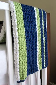 Preppy / Nautical Baby Reversible Crochet Blanket. Love these colors! Great colors for a baby boy's room!