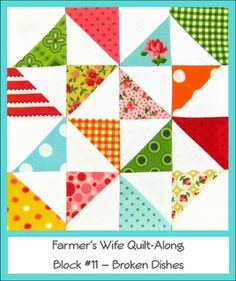 Broken Dishes Quilt Block (Farmer's Wife Quilt-Along) @ Craft Sew Create Half Square Triangle Quilts Pattern, Square Quilt, Hexagon Quilt, Quilting Projects, Quilting Designs, Sewing Projects, Quilting Ideas, Big Block Quilts, Quilt Blocks