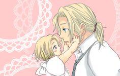 緑山 - Hetalia - Francis with baby Matthew. Oh my goodness, this is so CUTE!!!