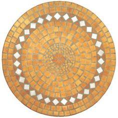 Round mosaic table yellow mustard