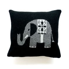 Lambswool black elephant cushion  £48.00, via Etsy.