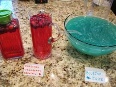 """Lovebird Bridal Shower Drinks - Bluejay Juice (nonalcoholic punch) & Cardinal Cranberry Champagne Cocktail """"Let's Party"""" on Twins in the Cities"""