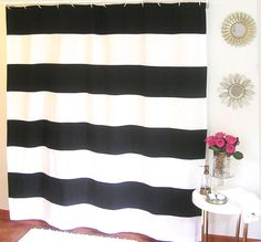 Black And White Organic Horizontal Stripe Shower Curtain  Https://www.etsy.com/listing/194851274/ships Next Business Day Black And  White?refu003d ...