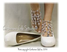 CRYSTAL Barefoot sandals foot jewelry by CatherineColeStudio, $25.90  Could get something like this and wear with nude heels??? Just an idea