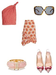 """floral printed skirt"" by bethanyyk on Polyvore featuring Altuzarra, Rosie Assoulin, Christian Louboutin, Kate Spade and Karen Walker"